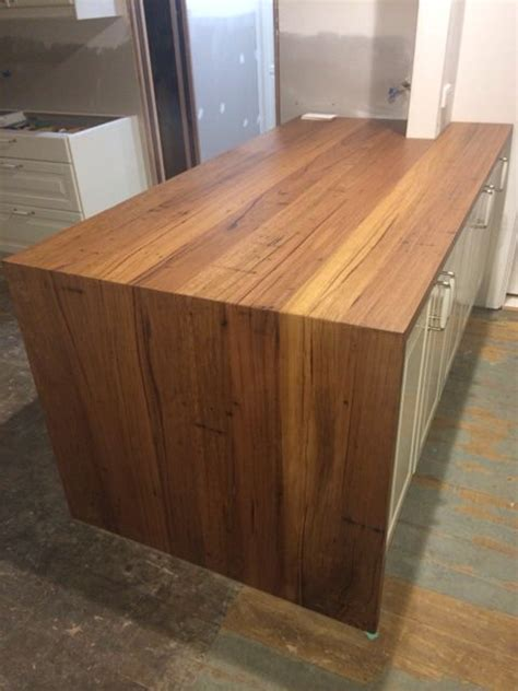 timber revival recycled mixed victorian hardwood kitchen benchtop featuring waterfall
