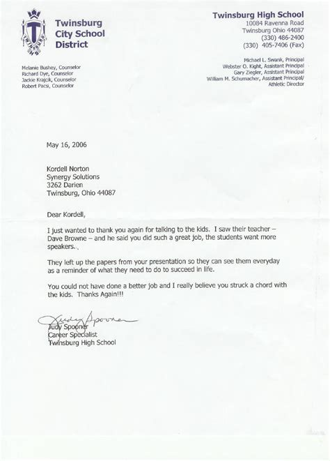 School Recommendation Letter Exle Reference Letter For Kordell Norton For Keynote Speech To High School Students
