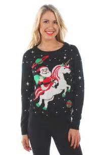 Women s santa unicorn christmas sweater tipsy elves