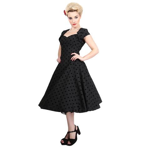 vintage style swing dress collectif regina doll black flock dot vintage 1950s retro