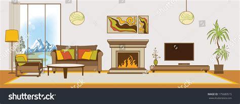 Living Room Flat Design Vector Vector Livingroom Interior Flat Design Stylization Stock