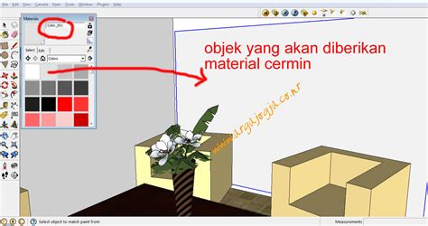 tutorial cahaya vray sketchup cara membuat material cermin pada google sketchup 8