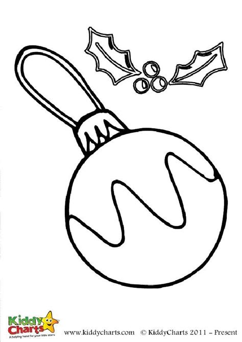 colouring pages christmas baubles free bauble and holly colouring page