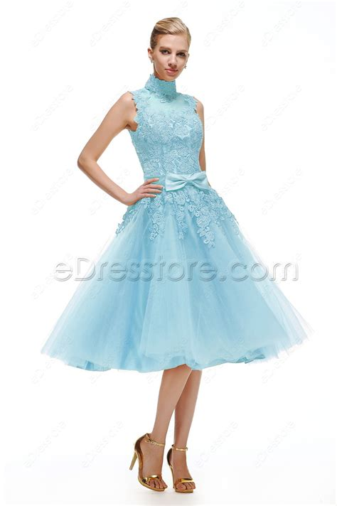 light blue tea dress light blue lace vintage prom dresses tea length