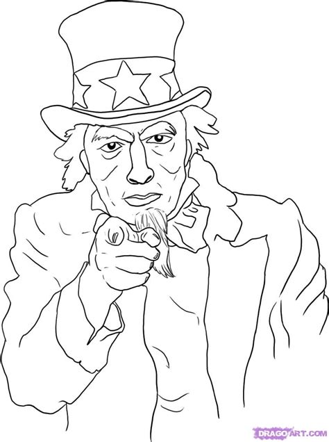 uncle sam wants you coloring page step 5 how to draw uncle sam