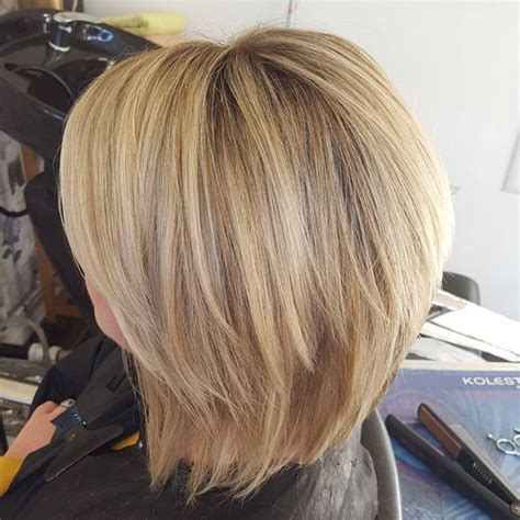 Blended Stacked Hairstyles | beautiful blended out ash blonde bob lob