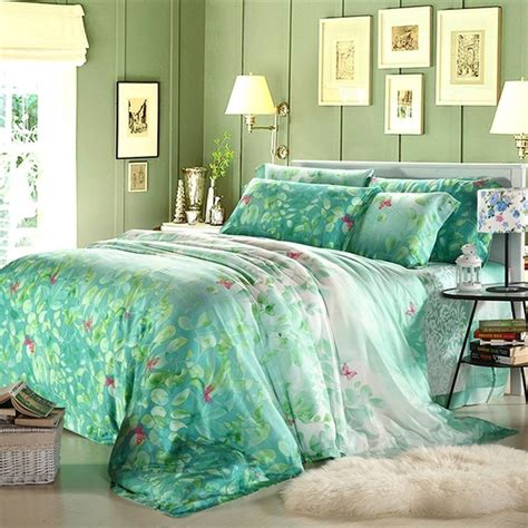 Bed Cover Set Tencel Katun Organik King Size 180x200x40cm luxury summer cool tencel bedding sets size king size bed sheets country style flowers