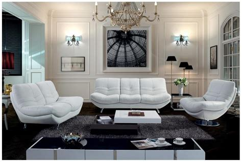 White Leather Living Room Chair - magnificent white living room furniture set modern leather