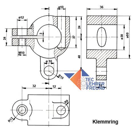 Technische Zeichnung Ansichten by Einen Klemmring In Perspektive Und Ansichten Zeichnen