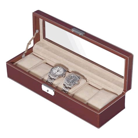 Decorative Display Cases by Brown Pu Leather Six Display With Decorative