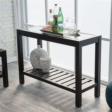 Sutton Glass Top Console Table With Slat Bottom Console Sofa Table With Glass Top