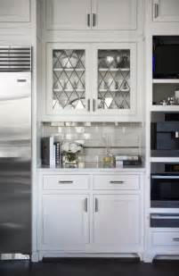 Glass Door Cabinet Kitchen Leaded Glass Cabinet Doors Transitional Kitchen Mcdougald Design
