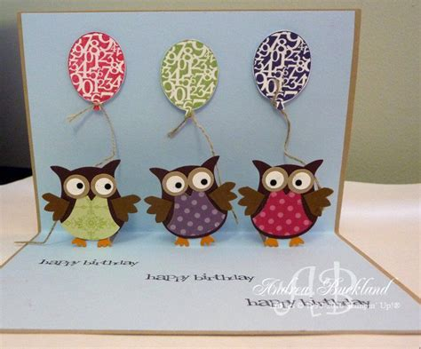 owl birthday card template handmade card templates creating cards with andrea pop