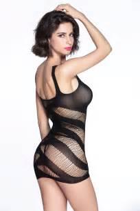 cheap black striped cutout mini chemise dress
