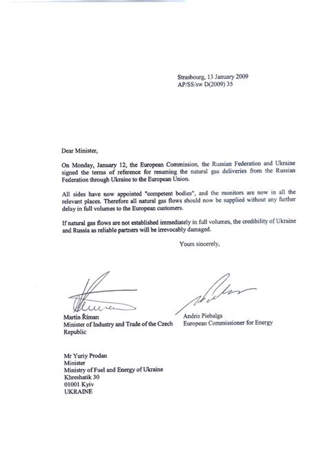 Introduction Letter Vendor Registration Eu2009 Cz Presidency And Commission Urge Resumption Of Gas Supplies In Joint Letter