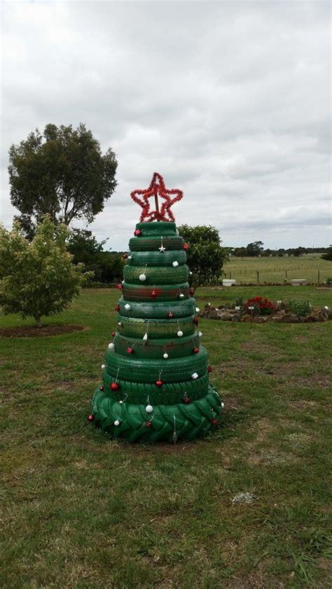 tyre christmas tree christmas craft pinterest tired