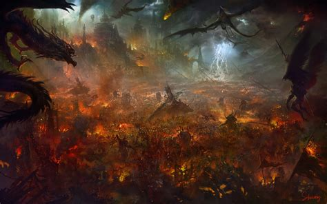 demons of wrath the fires of attack magick books artwork war burning thunderbolt siege castle