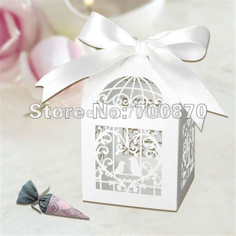bulk details white wedding favor boxes 12 ct packs at free shipping 50pcs laser cut birdcage box wedding favor