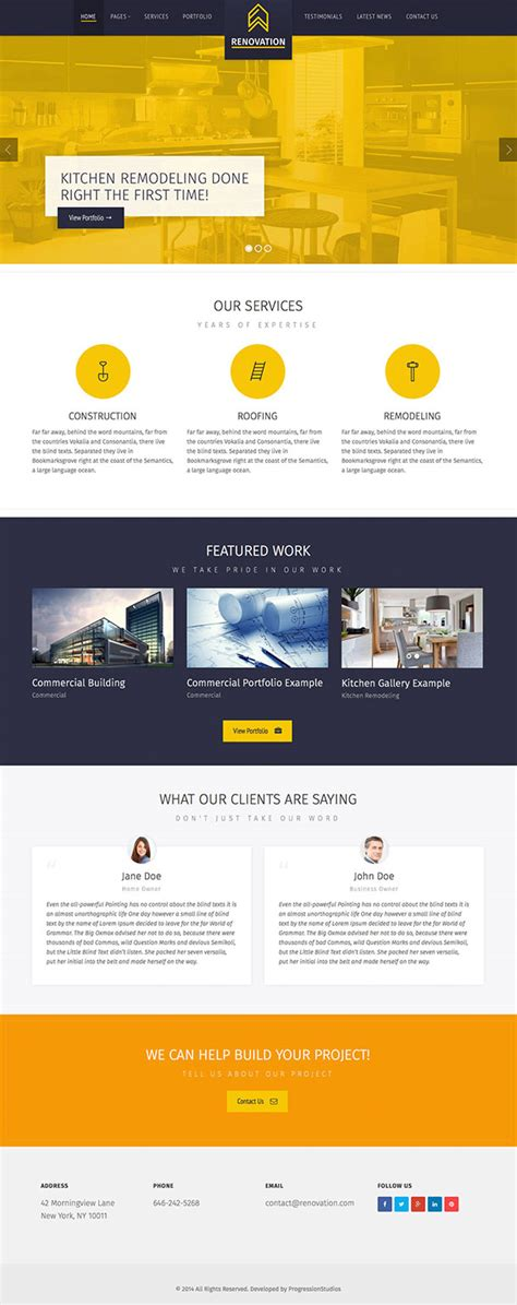 renovation websites 20 best construction company wordpress themes 2016