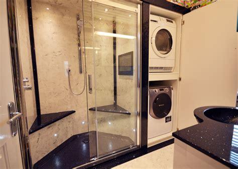 unique bathroom design double shower built  laundry