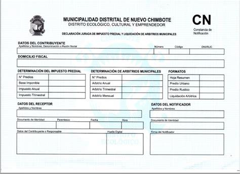 pago predial df formato universal formato de predial municipalidad de nuevo chimbote