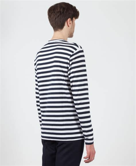 Cdg Square Shirt Navy lyst comme des gar 231 ons quot cdg shirt boys quot sleeve stripe t shirt in blue for