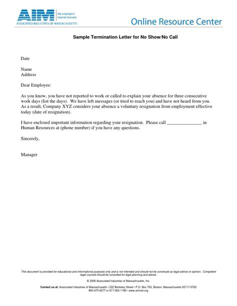 termination letter template no call no show sleterminationltr noshow