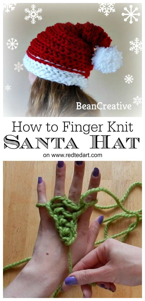 how to make a finger knit hat finger knitting santa hat project ted s