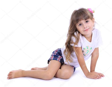 rainpow young little girls little girl posing isolated on white stock photo