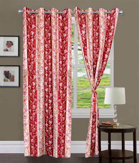 Pink Floral Curtains Iws Pink Floral Polyester Eyelet Curtains 2 Pcs Buy Iws Pink Floral Polyester