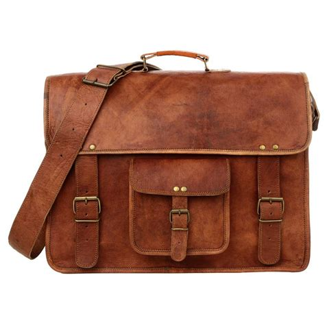 Sachele Brown large briefcase style brown leather satchel laptop bag by