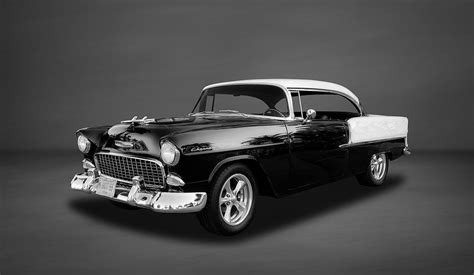 frank benz 1955 chevrolet bel air sport coupe bw photograph by