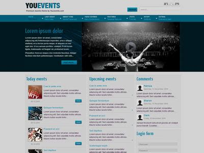 Youevents Joomla Template For Clubbing With Hd Flash Video Player Joomla Events Template Joomla Event Template