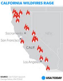 map of california fires currently burning 19 wildfires burning in california including la s largest