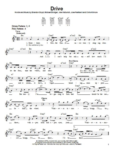 drive by chord drive sheet music direct