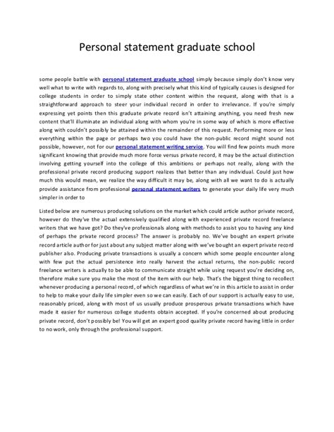 Grad School Personal Statement Exles Mba by Personal Statement Graduate School 29