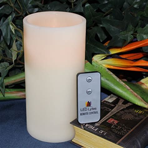 Large Flameless Candles With Remote by Led Lytes Real Wax Battery Operated Flameless Pillar