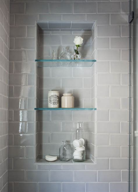 bathroom shower niche beautiful serene bathroom are the glass shelves in the