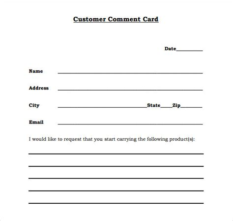 11 Comment Cards Pdf Word Adobe Portable Documents Customer Card Template