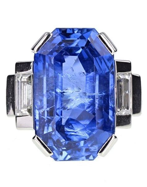 Blue Safir Octagonal an deco sapphire and ring by mauboussin