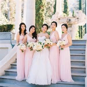 colored bridesmaid dresses petal colored bridesmaid dresses blomwedding