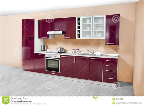 Kitchen Wooden Furniture Modern Kitchen Wooden Furniture Simple And Clean Stock Photo Image 65631901