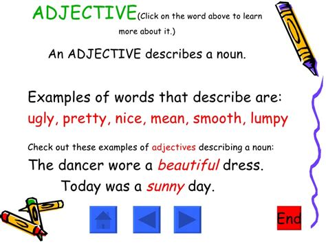 exle of adjective adjectives nouns verbs