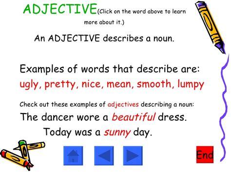 adjectives nouns verbs