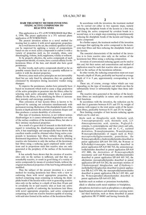 Nuellorenza Hair Treatment Compound 1 patent us6361767 hair treatment method involving fixing