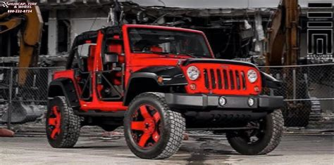 matte red jeep jeep wrangler xd series xd775 rockstar wheels matte black red