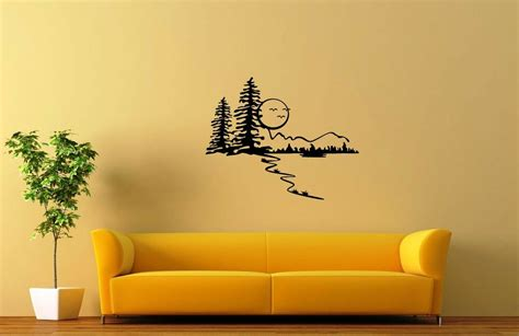 vinyl wall decal forest tree wall stickers vinyl decal nature landscape forest trees moon ig1575 ebay