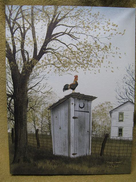 rooster  outhouse canvas painting wall decor country