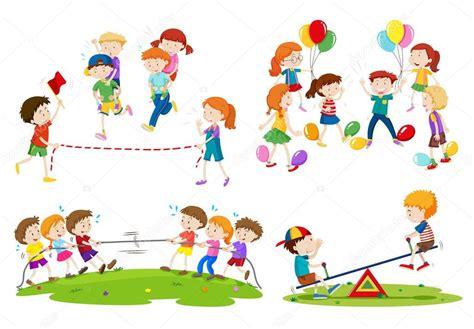 imagenes de niños jugando juegos tradicionales ni 241 os jugando juegos diferentes vector de stock