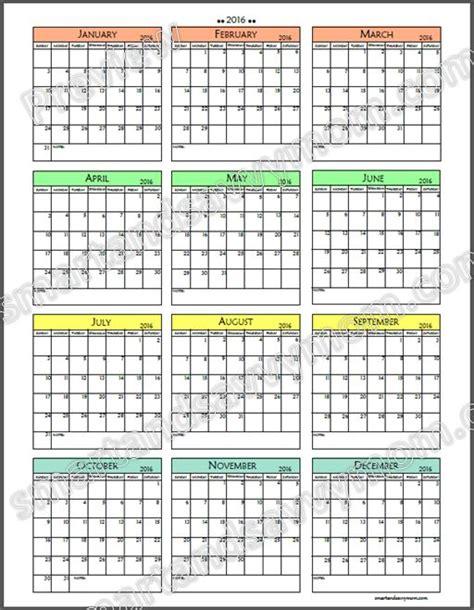 2016 printable yearly calendar free